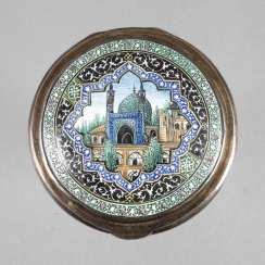 Powder compact with enameled mosque