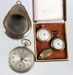 2 ladies pocket watches, around 1900, among others