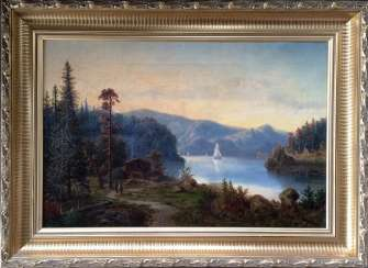 """The Alps. Mountain lake"". Monogram: BB. XIX century."