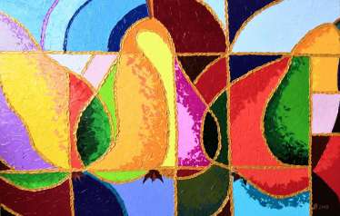 Cubism Pears painting Knife texture Fruits Paintings Cubism art Still life