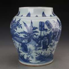 Qing Dynasty blue and white porcelain character story jar