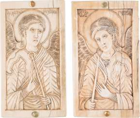 PAIR OF IVORY PLAQUE WITH THE ARCHANGELS MICHAEL AND GABRIEL