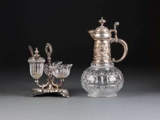 THREE-PIECE CRUET AND DECANTER WITH SILVER MOUNT