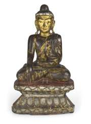 Wood figure of the seated Buddha Shakyamuni