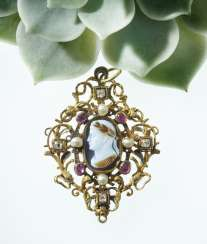 Pendant with cameo, diamonds, rubies, pearls and enamel Probably
