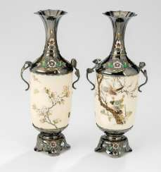 Pair of small vases made of ivory, decorated in the Shibayama style silver gear