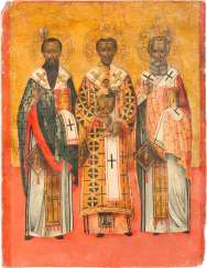 LARGE-FORMAT ICON WITH THE THREE CHURCH FATHERS, GREGORY THE THEOLOGIAN, JOHN CHRYSOSTOM AND BASIL THE GREAT