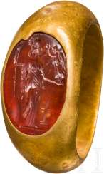 Gold ring with Minerva Intaglio, Roman, 1. - 2. Century
