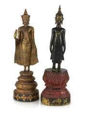 Two wooden and bronze figures of Buddha Shakyamuni