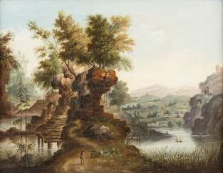 PAIR OF PAINTINGS: MOUNTAINOUS LANDSCAPE WITH RESTING HIKERS/FOREST LANDSCAPE WITH A CHURCH, A BRIDGE, A WATERFALL, AND SHEPHERDS