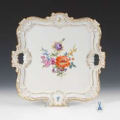 Tray with flower painting, MEISSEN.