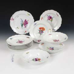 6 + 5 plates with flower painting, MEISSEN