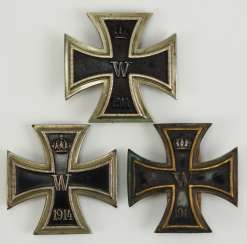 Prussia: Lot of 3 Iron Cross, 1914, 1. Class.