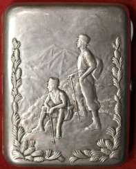 Cigarette case with embossed image of