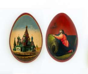 Paint Easter egg with Christ on the mount of Olives and Cathedral