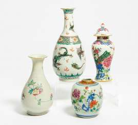 Four small vases with peonies, Phoenix and dragon