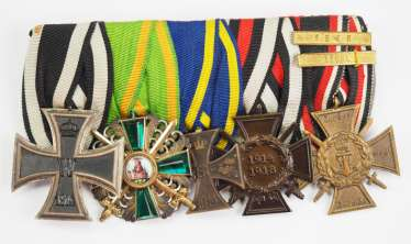 Baden: Great medalbar of a front officer of the Western front with 5 awards.