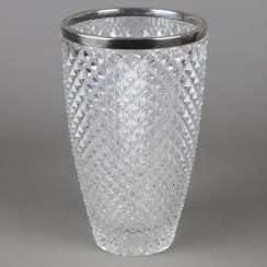 Glass vase with silver fittings