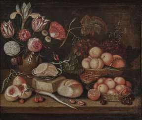 Italy - Still life with fruits, flowers, loaf of bread and radish, 17th century
