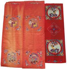 Mixed lot of red textiles with embroidery
