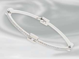 Bracelet: decorative brilliant gold wrought bracelet in 18K white gold, new, lt. Label NP approximately 3.300€