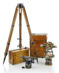 Two survey instruments in a wooden box and a tripod