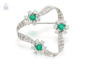 Brooch/needle: tasteful and high quality vintage diamond/emerald-loop brooch, 18K white gold