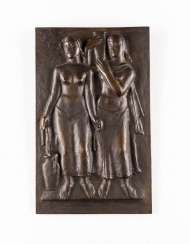 GERMAN sculptor Active 1. Half of the 20. Century relief panel with two female figures