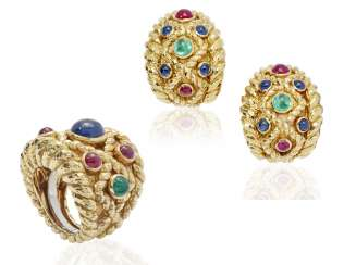DAVID WEBB MULTI-GEM AND GOLD RING AND EARRINGS