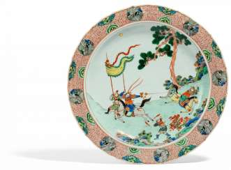 A major plate with the theater scene from the novel of the Three Kingdoms