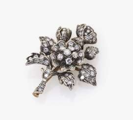 Brooch in the shape of a rose blossom with diamonds Germany, 1950s
