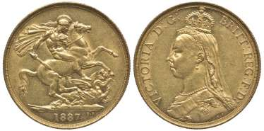 BRITAIN 2 pounds 1887 Victoria KM 768, Spink 3865 gold 10-016-52