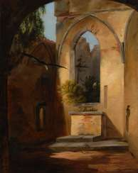 German painter in the 1830's: Romantic Church ruin with birds of Prey, and snake.