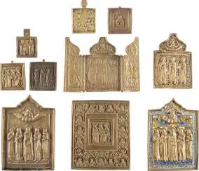 A TRIPTYCH AND NINE BRONZE ICONS WITH SELECTED SAINTS