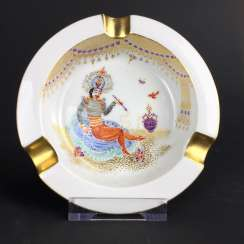 Ash tray / ashtray: Meissen porcelain 1001 Arabian nights, gold plated, gold ornaments, Prof. Heinz Werner, very good.