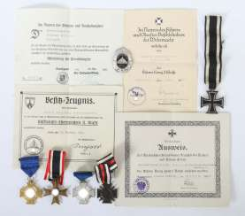 Mixed lot of medals and certificates 3rd Reich