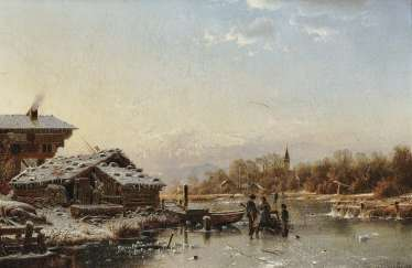 Winter landscape with figure staffage