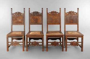 Four chairs in the Renaissance revival style