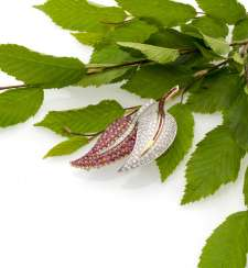 Fine ruby and diamond brooch in leaf shape
