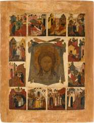 VERY RARE AND MONUMENTAL ICON WITH THE MANDYLION AND ITS LEGEND Northern Russia