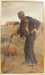 Hans Larwin(1873-1938) large portrait of a man with walking stick, oil on canvas, singed