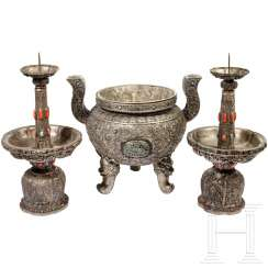 Three-piece silver altar set with coral trim, Sino-Mongolian, 19th century