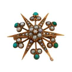 Brooch in the form of a star with a small old European cut diamond, approx 0.02 ct,