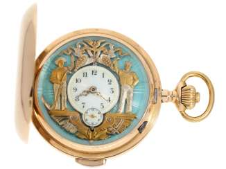 Pocket watch: very heavy and large red-gold Savonnette with exceptional and very rare Jacquemart figure vending machine