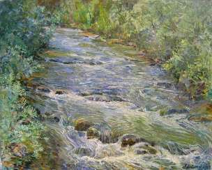 Mountain river after rain Painting by Aleksandr Dubrovskyy