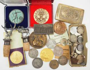 Lot of medals and coins.