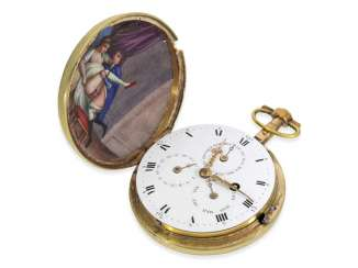 Pocket watch: extremely rare early enamel-Savonnette with hidden erotic paintings, and a complicated Calendar movement, Amalric a Dijon, CA. 1790