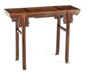 Small altar table made of burl wood and hardwood
