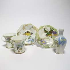 Two cups and saucers, & miniature vase with birds and floral decor