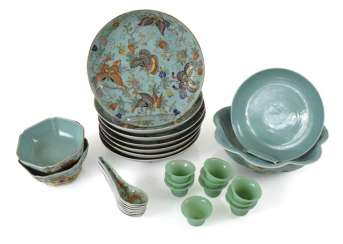 Rest service from porcelain with turquoise Fond of porcelain